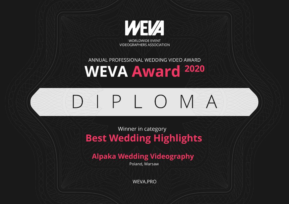 najlepszy film teledysk ślubny filmowiec ślubny na świecie nagroda WEVA Awards 2020